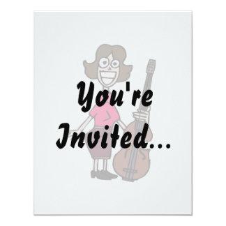 goofy cartoon female bass player 11 cm x 14 cm invitation card