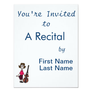 goofy cartoon female bass player 11 cm x 14 cm invitation card