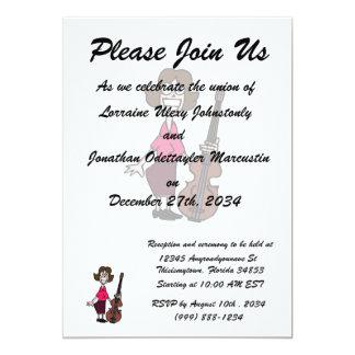 goofy cartoon female bass player 13 cm x 18 cm invitation card