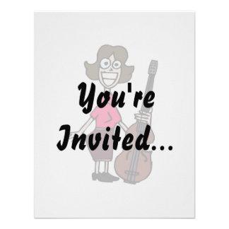 goofy cartoon female bass player announcement