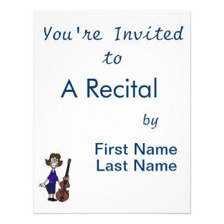 goofy cartoon female bass player blue custom invitations