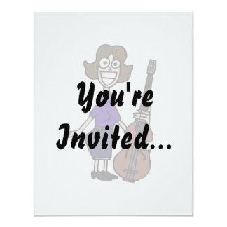 goofy cartoon female bass player blue 4.25x5.5 paper invitation card