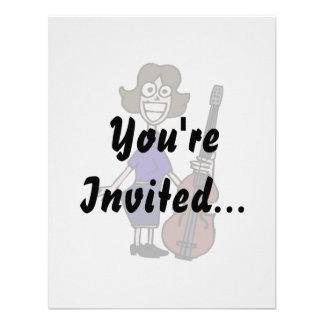 goofy cartoon female bass player blue invite