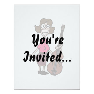 goofy cartoon female bass player 4.25x5.5 paper invitation card