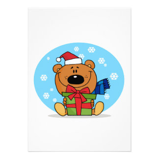 goofy christmas present santa bear personalized announcement