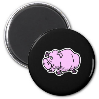goofy chubby pig 6 cm round magnet