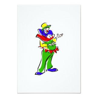 Goofy clown 13 cm x 18 cm invitation card