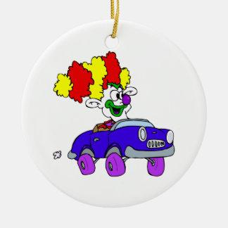 Goofy Clown in little car Christmas Ornament