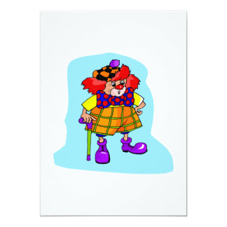 Goofy clown with cane & golf hat 13 cm x 18 cm invitation card
