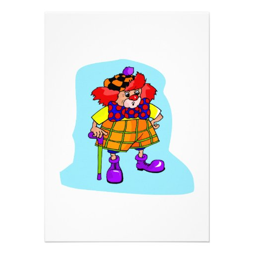 Goofy clown with cane & golf hat personalized invite