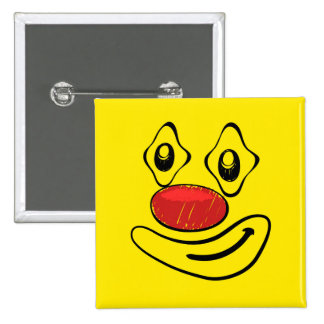 Goofy Clown Yellow Smiley Face 15 Cm Square Badge