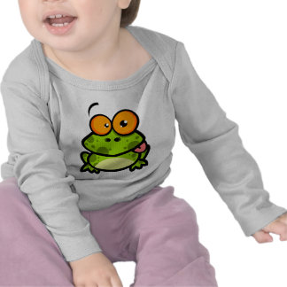 goofy cute frog sticking out tongue t shirt