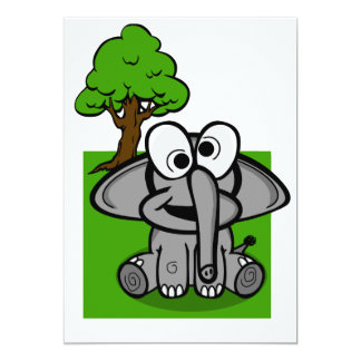 Goofy Elephant Cartoon 13 Cm X 18 Cm Invitation Card