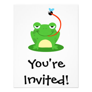goofy frog catching a fly cartoon invitation