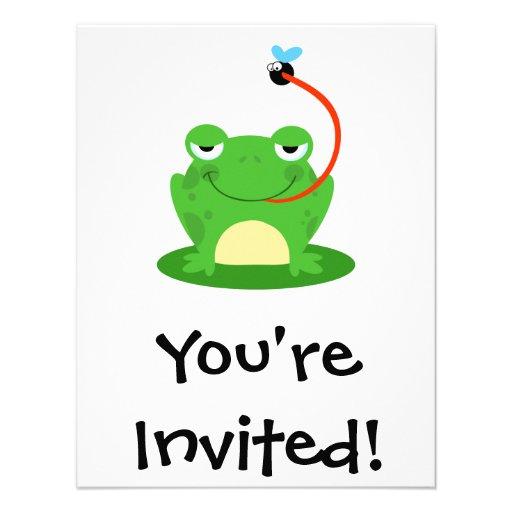 goofy frog catching a fly cartoon invitation