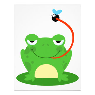 goofy frog catching a fly cartoon custom invites