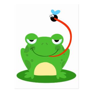 goofy frog catching a fly cartoon postcard