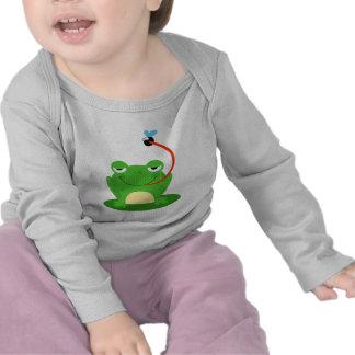 goofy frog catching a fly cartoon tee shirt