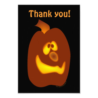 Goofy Glowing Halloween Jack-o-Lantern Pumpkin 9 Cm X 13 Cm Invitation Card