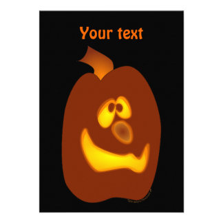 Goofy Glowing Halloween Jack-o-Lantern Pumpkin Personalized Invitations