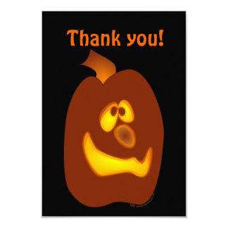 "Goofy Glowing Halloween Jack-o-Lantern Pumpkin 3.5"" X 5"" Invitation Card"