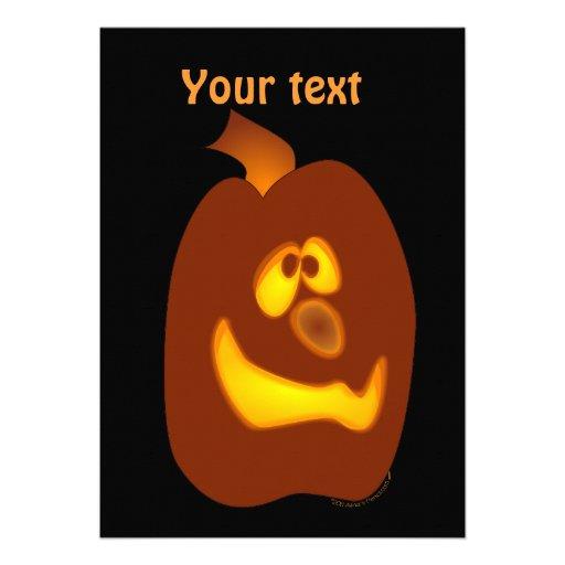Goofy Glowing Halloween Jack-o-Lantern Pumpkin Personalized Invitations