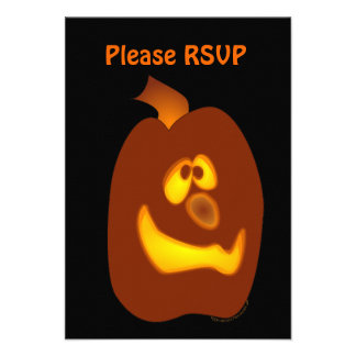 Goofy Glowing Halloween Jack-o-Lantern Pumpkin Personalized Announcement