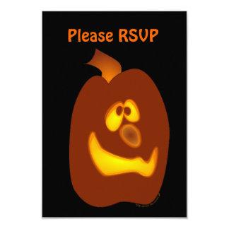 Goofy Glowing Halloween Jack-o-Lantern Pumpkin 3.5x5 Paper Invitation Card