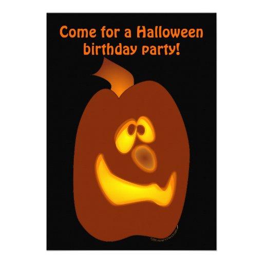 Goofy Glowing Halloween Jack-o-Lantern Pumpkin Announcements