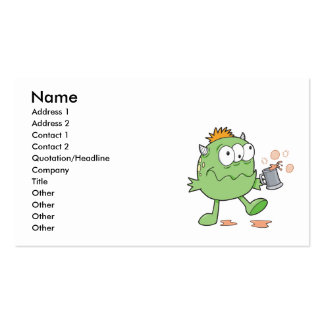goofy green drunk monster cutie pack of standard business cards