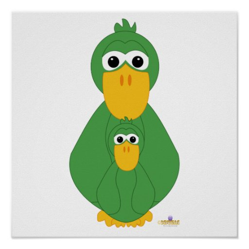 Goofy Green Duck And Baby Print