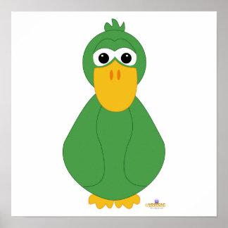 Goofy Green Duck Poster