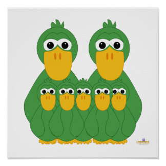 Goofy Green Ducks And Five Babies Poster