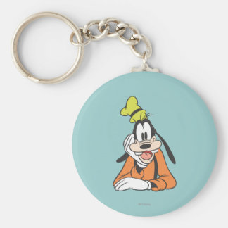Goofy | Hand on Chin Basic Round Button Key Ring