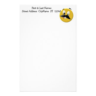 Goofy Happy Face with Mustache Stationery