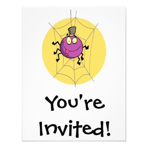 goofy happy spider in web cartoon personalized invitation