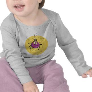 goofy happy spider in web cartoon t-shirts