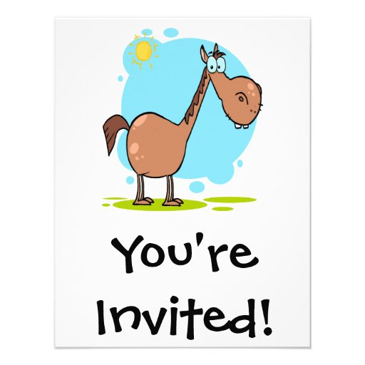 goofy horse cartoon character personalized invite