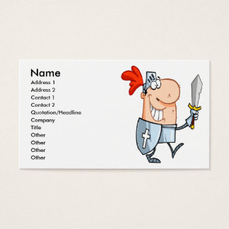 goofy knight in shining armor with sword cartoon business card