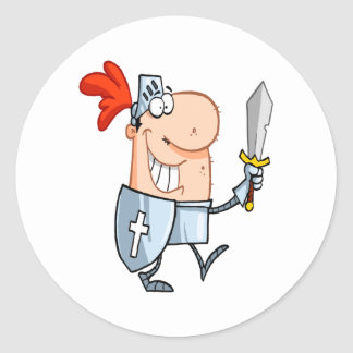 goofy knight in shining armor with sword cartoon stickers