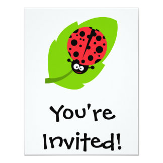 goofy ladybug on a leaf 11 cm x 14 cm invitation card