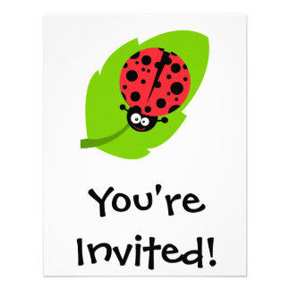 goofy ladybug on a leaf personalized invite