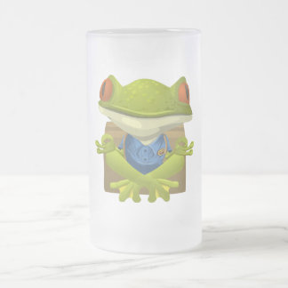 Goofy Little Meditating Green Tree Frog Frosted Glass Mug
