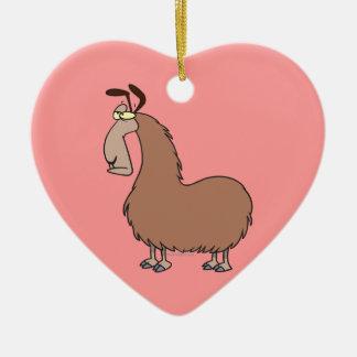 goofy llama cartoon christmas ornament