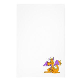 Goofy Orange Dragon Stationery Design
