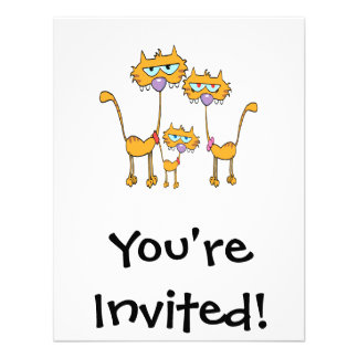 goofy orange kitty cat family invitations