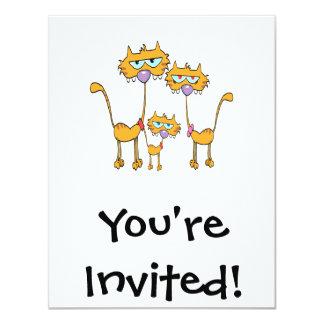 goofy orange kitty cat family invitations