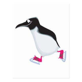 goofy penguin on iceskates postcard