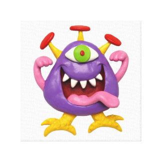Goofy Purple Monster Baby Boy Shower Nursery Stretched Canvas Print