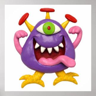 Goofy Purple Monster Baby Shower Nursery Poster